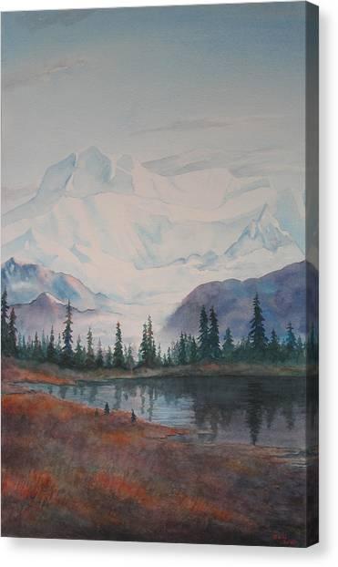 Alaksa Mountain And Lake Canvas Print by Debbie Homewood