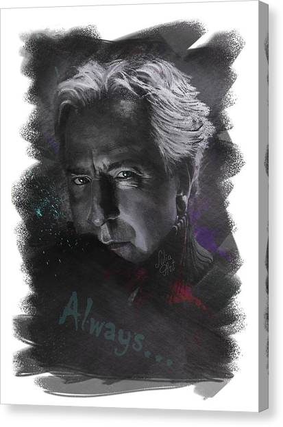 Canvas Print featuring the drawing Alan Rickman by Julia Art