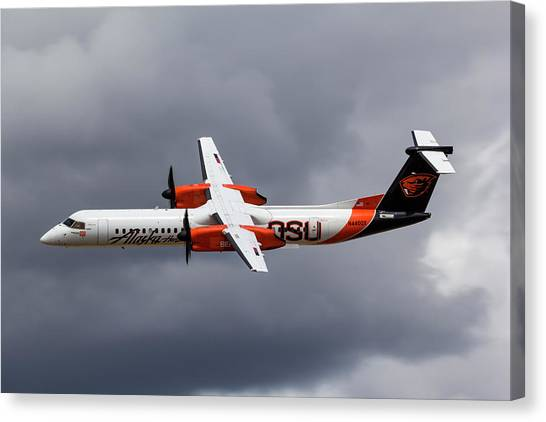 Oregon State University Osu Canvas Print - Alaska Airlines Turboprop by Rick Pisio