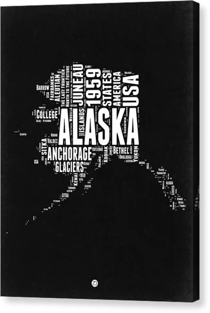 Independence Day Canvas Print - Alaska Black And White Map by Naxart Studio