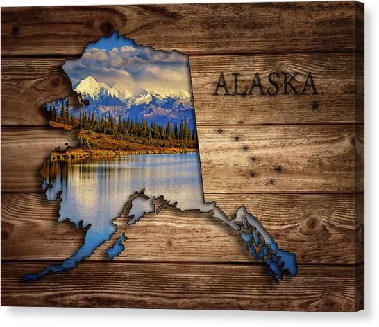 Alaska Map Collage Canvas Print
