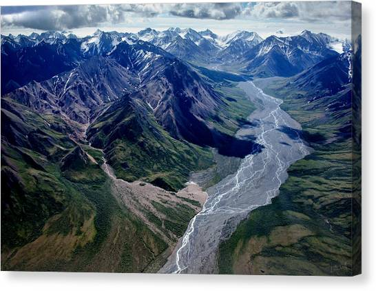 Linda King Canvas Print - Alaska Mountains Aerial 1380 by Linda King