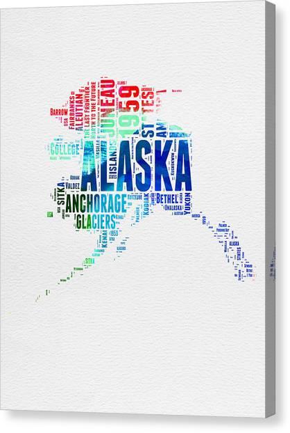 4th Of July Canvas Print - Alaska Watercolor Word Cloud  by Naxart Studio