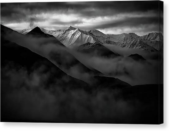 Denali Canvas Print - Alaskan Peak In The Shadows by Rick Berk