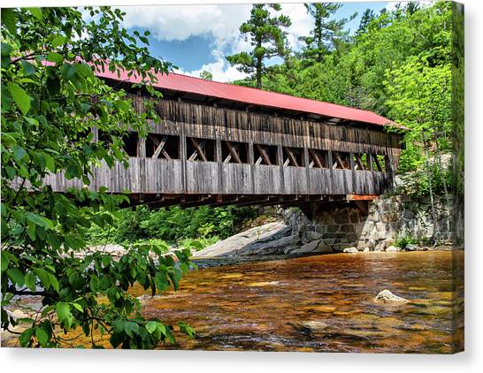 Canvas Print featuring the photograph Albany Covered Bridge  by Betty Pauwels