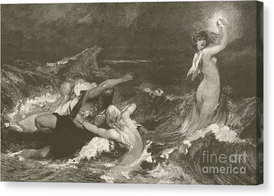 Angel Mermaids Ocean Canvas Print - Alberich's Pursuit Of The Nibelungen Ring by Hans Makart