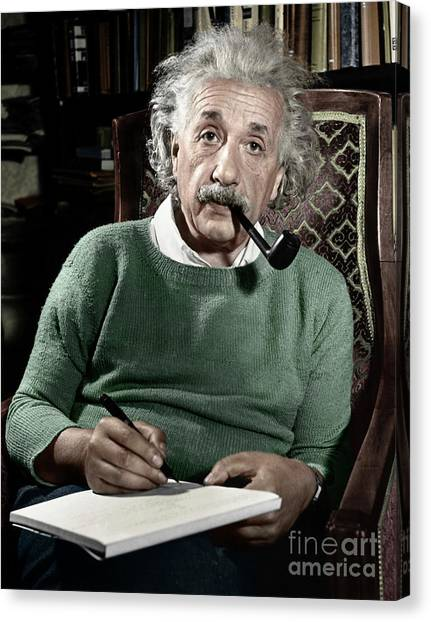 Men Canvas Print - Albert Einstein by Granger