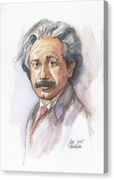 Mixed-media Canvas Print - Albert Einstein by Olga Shvartsur