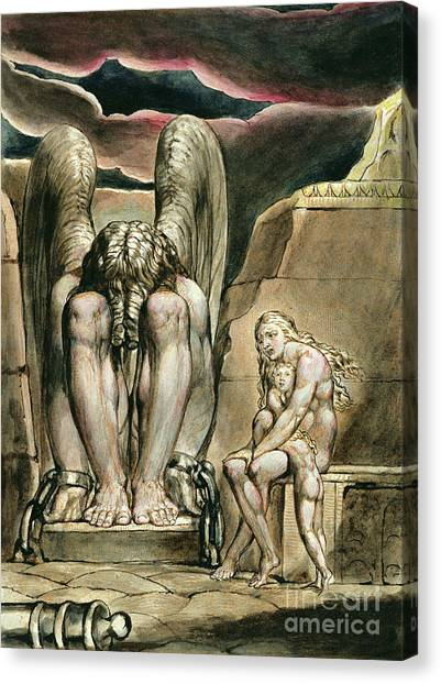 Nude Mom Canvas Print - Albion's Angel, Frontispiece To America, A Prophecy, Circa 1821 by William Blake
