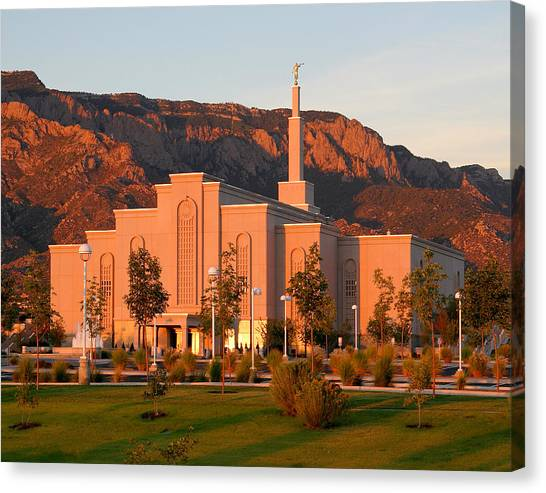 Albuquerque Lds Temple At Sunset 1 Canvas Print
