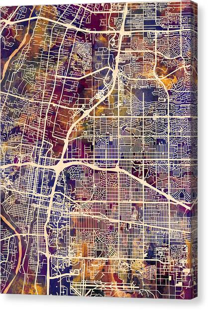New Mexico Canvas Print - Albuquerque New Mexico City Street Map by Michael Tompsett