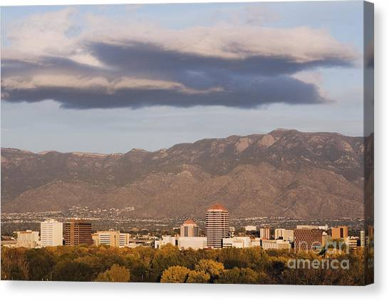 Nm Canvas Print - Albuquerque Skyline With The Sandia Mountains In The Background by Jeremy Woodhouse