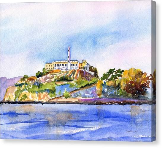Alcatraz Canvas Print - Alcatraz Island San Francisco Bay by Carlin Blahnik CarlinArtWatercolor