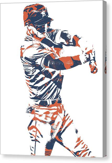 Houston Astros Canvas Print - Alex Bregman Houston Astros World Series Homerun by Joe Hamilton
