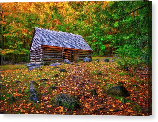 Alex Cole Cabin At Jim Bales Place, Roaring Fork Motor Trail In The Smoky Mountains Tennessee Canvas Print
