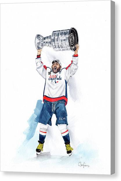 Alex Oveckhkin Stanley Cup Win Canvas Print by Caroline Serafinas