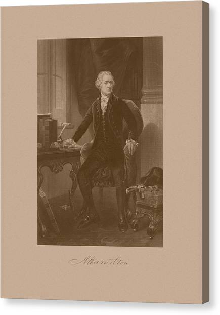 Revolutionary War Canvas Print - Alexander Hamilton Sitting At His Desk by War Is Hell Store