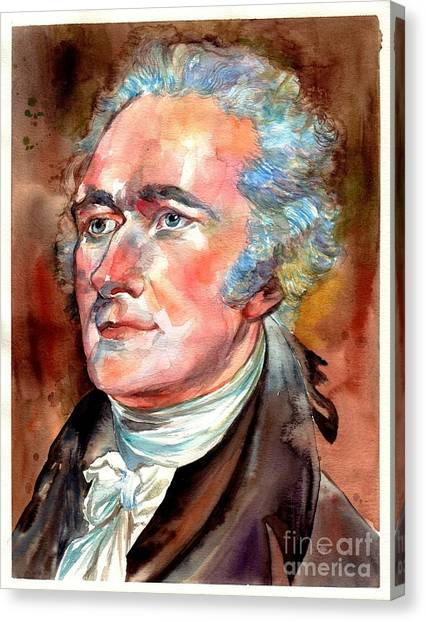 Quebec Canvas Print - Alexander Hamilton Watercolor by Suzann's Art