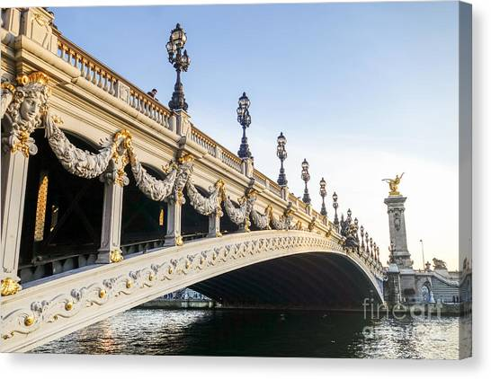 Alexandre IIi Bridge In Paris France Early Morning Canvas Print