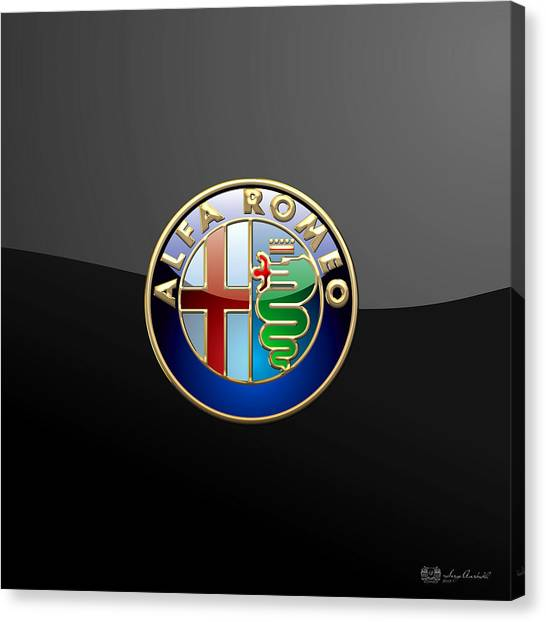 Automobiles Canvas Print - Alfa Romeo - 3 D Badge On Black by Serge Averbukh