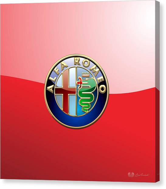 Men Canvas Print - Alfa Romeo - 3d Badge On Red by Serge Averbukh