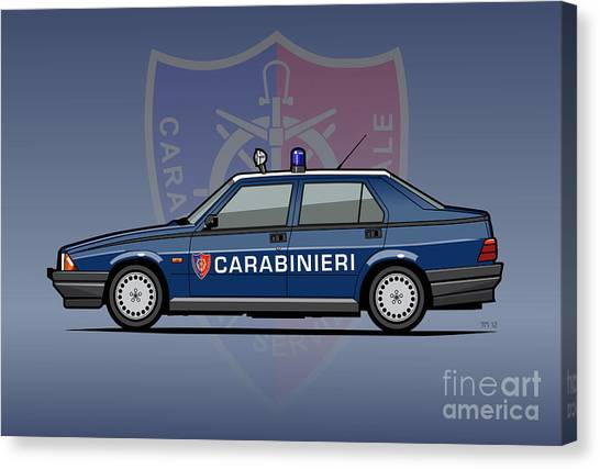 Planet Canvas Print - Alfa Romeo 75 Tipo 161, 162b Milano Carabinieri Italian Police Car by Monkey Crisis On Mars