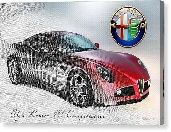 Sports Cars Canvas Print - Alfa Romeo 8c Competizione  by Serge Averbukh