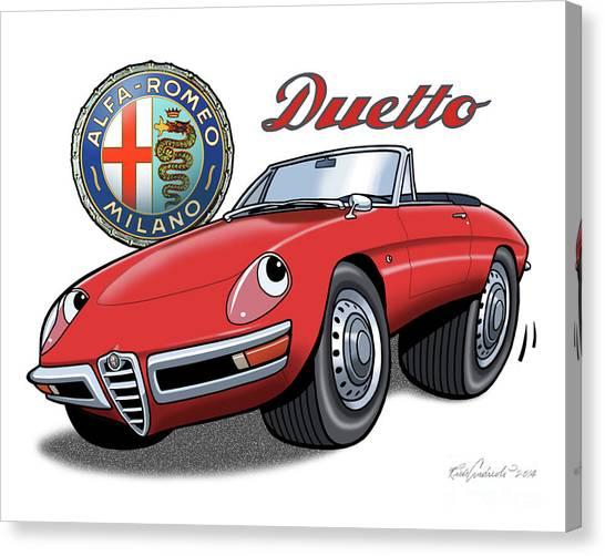 Alfa Romeo Duetto Cartoon Canvas Print