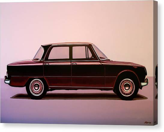 Spiders Canvas Print - Alfa Romeo Giulia Super 1967 Painting by Paul Meijering