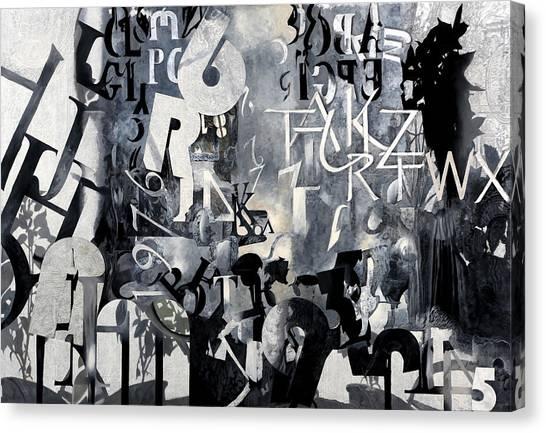 Deltas Canvas Print - Alfabeto Bianco Nero by Guido Borelli