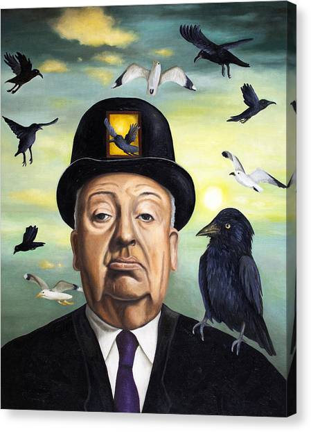 Horror Canvas Print - Alfred Hitchcock by Leah Saulnier The Painting Maniac