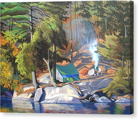 Algonquin Campsite Canvas Print by Paul Gauthier