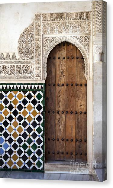 Muslim Canvas Print - Alhambra Door Detail by Jane Rix