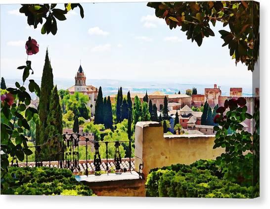 Alhambra Gardens, Digital Paint Canvas Print