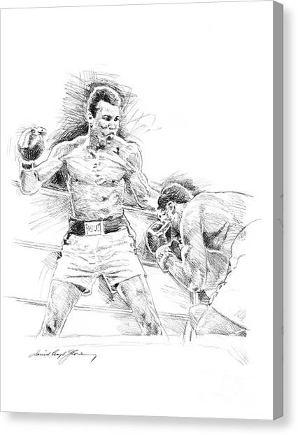 Muhammad Ali Canvas Print - Ali And Frazier by David Lloyd Glover