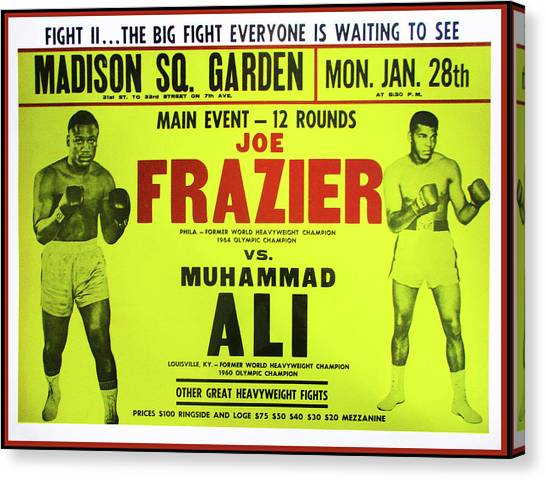 Joe Frazier Canvas Print - Ali Vs Frazier Boxing Poster by Bill Cannon