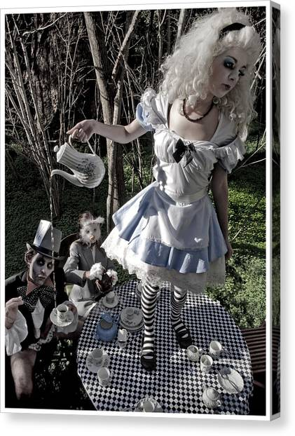 Checker Canvas Print - Alice And Friends 1 by Kelly Jade King