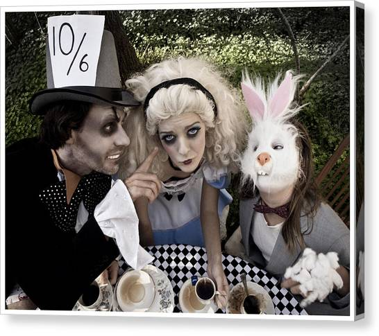 Checker Canvas Print - Alice And Friends 2 by Kelly Jade King