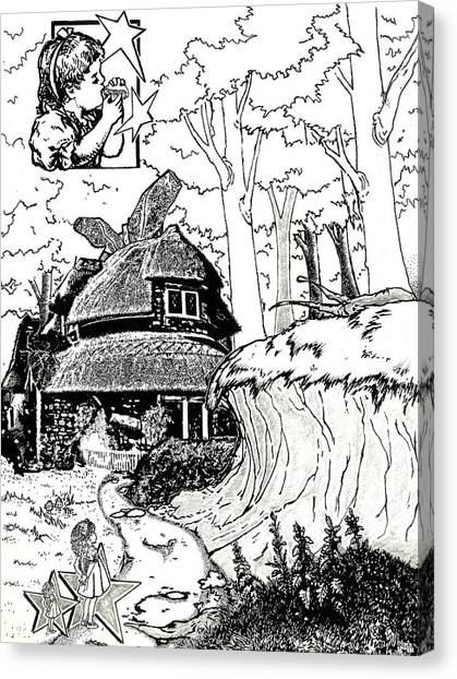 March Hare Canvas Print - Alice At The March Hare's House by Turtle Caps