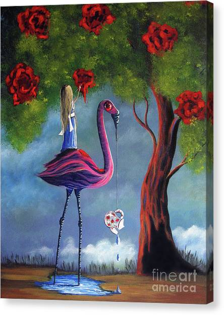 Red Roses Canvas Print - Alice In Wonderland Artwork  by Artisan Parlour