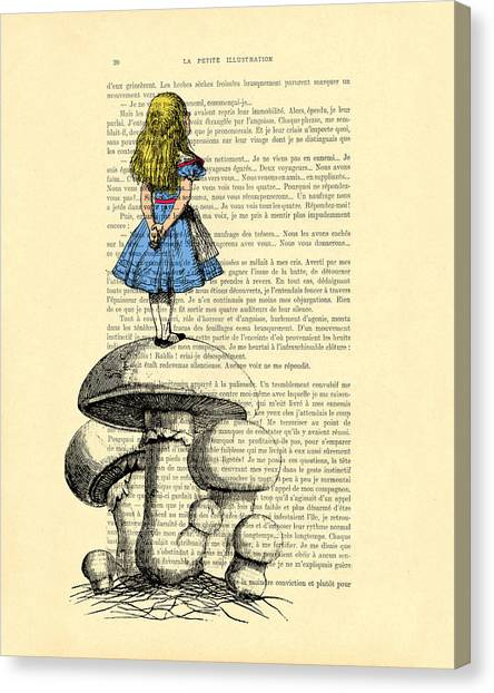 Old Masters Canvas Print - Alice In Wonderland Standing On Giant Mushroom by Madame Memento