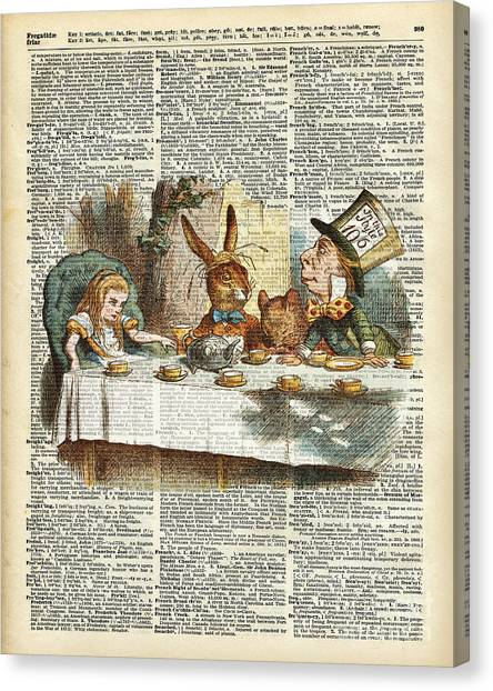 Tea Time Canvas Print - Alice Morning Tea Time by Anna W