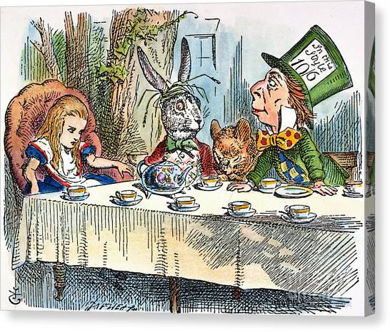 Tea Canvas Print - Alices Mad-tea Party, 1865 by Granger