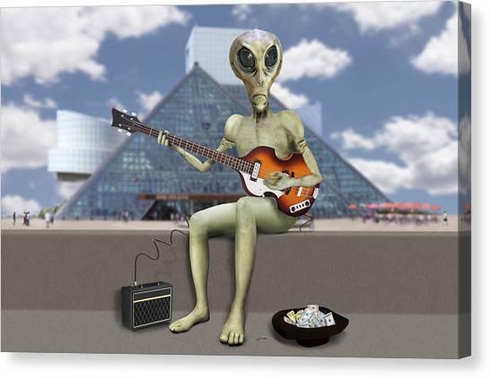 Bass Guitars Canvas Print - Alien Bass Guitarist  by Mike McGlothlen