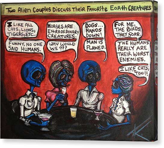 Alien Couples Discuss The Earths Creatures Over Drinks Canvas Print