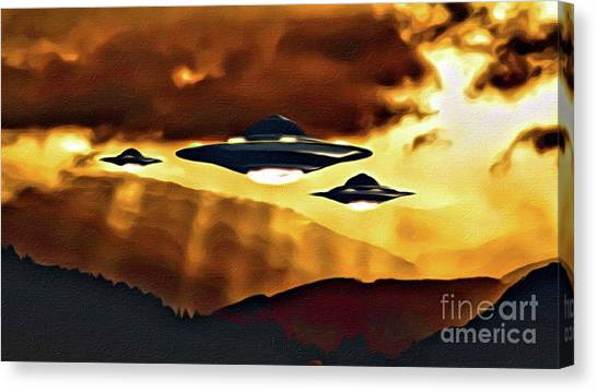 Monster Ufo Canvas Print - Alien Craft At Sunset by Raphael Terra