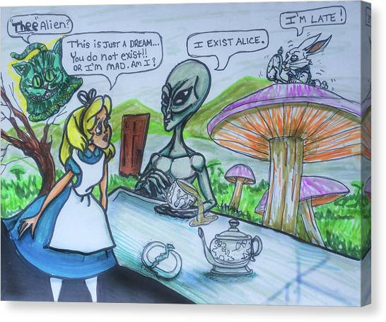 Alien In Wonderland Canvas Print