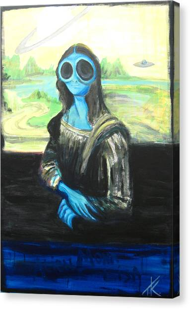 alien Mona Lisa Canvas Print