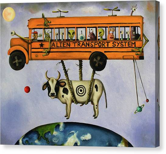 Saturn Canvas Print - Alien Transport System by Leah Saulnier The Painting Maniac