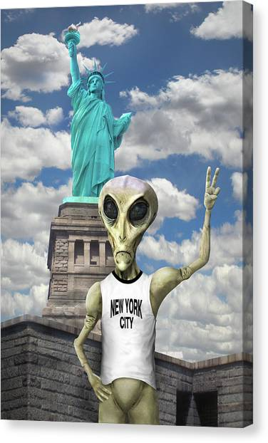 Ufo Canvas Print - Alien Vacation - New York City by Mike McGlothlen